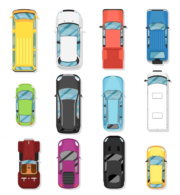 Top view modern city car isolated vector set Premium Vector