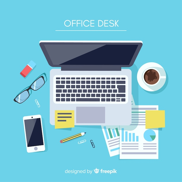Top view of modern office desk Premium Vector