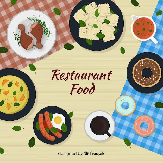 Top view of modern restaurant table with flat design Free Vector