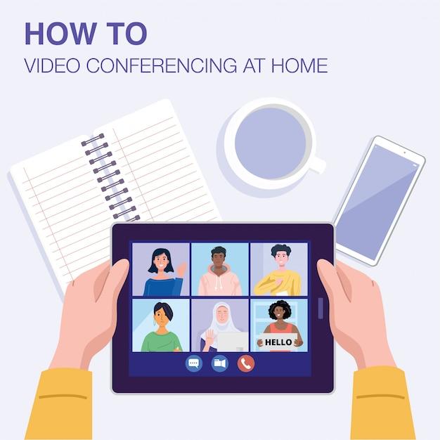 Взгляд сверху человека имея видеоконференцию на таблетке с его друзьями дома. Premium векторы