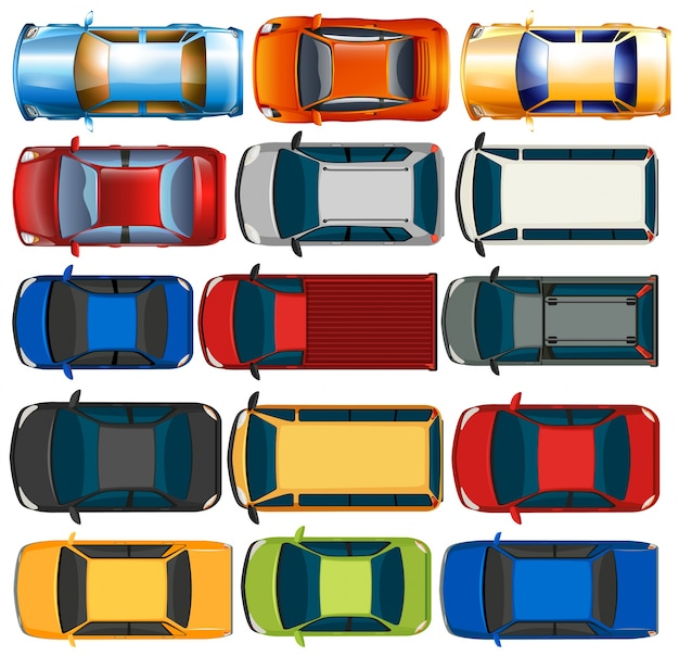 Top view of cars and trucks illustration