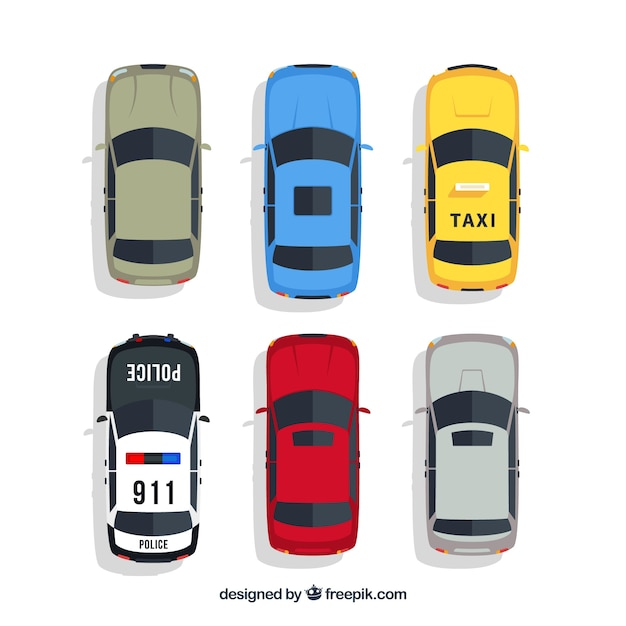 top view of cars with taxi and police vector free download
