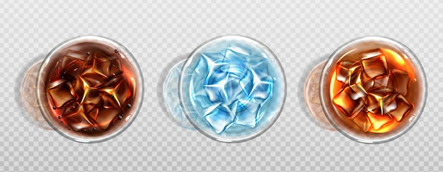 Вид сверху колы, холодного чая или воды с кубиками льда Бесплатные векторы