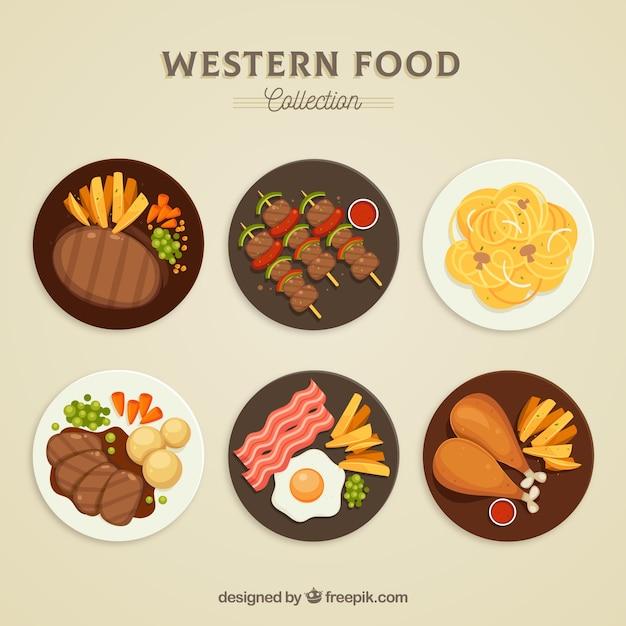 Вид сверху коллекции пищевых блюд Бесплатные векторы