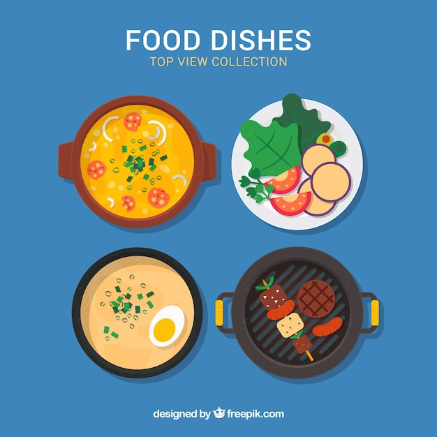 Top view of food dishes with flat design