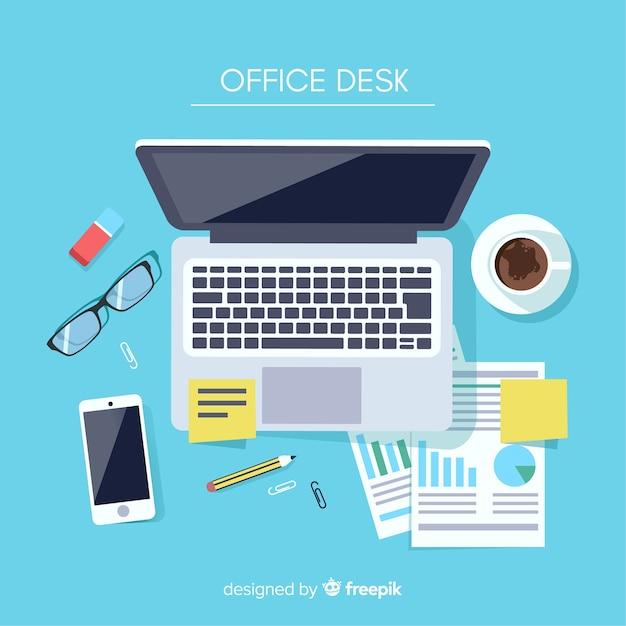Вид сверху современного офисного стола Premium векторы