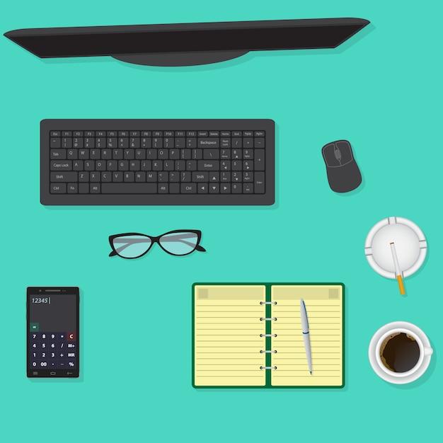 모니터, 키보드 및 마우스, 안경, 커피 한잔을 포함한 사무실 책상의 상위 뷰. 프리미엄 벡터