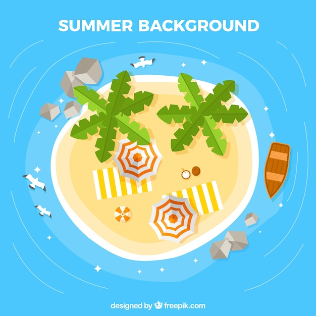 Top view of paradise island Vector | Free Download Island Top View Vector