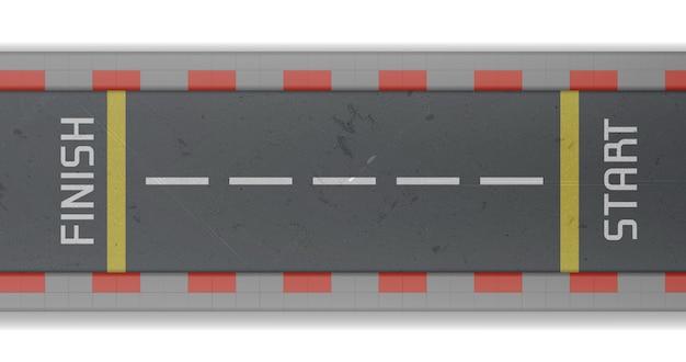 スタートラインとフィニッシュラインがあるレーストラックの平面図。車のラリーとスピードレースの空のアスファルト道路のベクトルのリアルなイラスト 無料ベクター