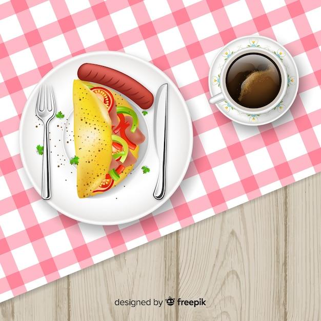 現実的なデザインのレストランテーブルのトップビュー 無料ベクター
