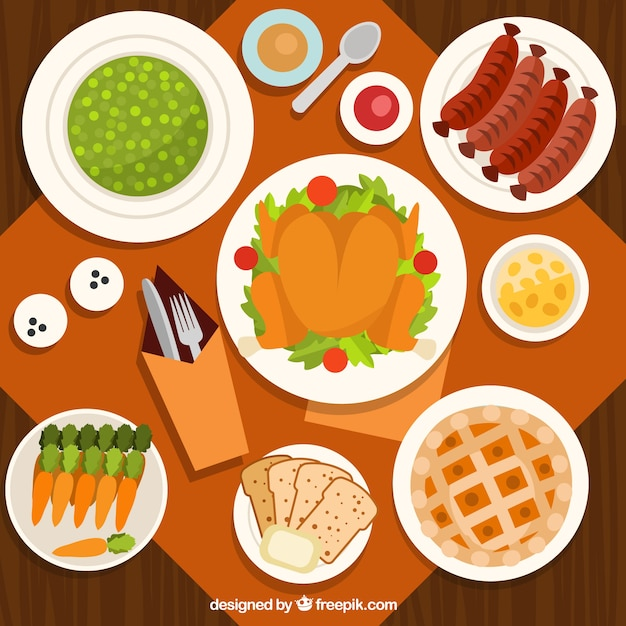 Top View Of Thanksgiving Dinner In Flat Design Vector