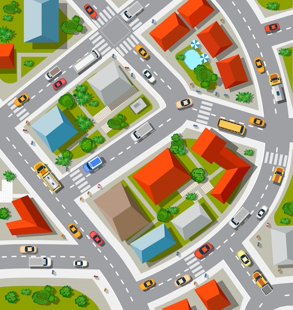 Вид на городские перекрестки с автомобилями и домами Premium векторы