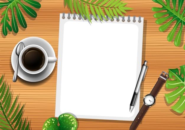 빈 종이와 사무실 개체와 나뭇잎 요소와 나무 테이블의 상위 뷰 무료 벡터