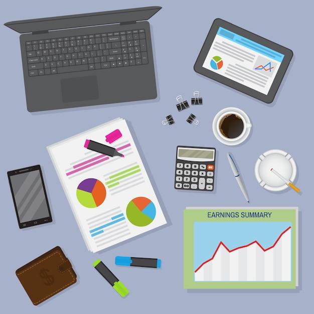 노트북, 태블릿, 커피 한잔 및 문구를 포함한 상위 뷰 사무실 테이블 작업 공간 조직. 프리미엄 벡터