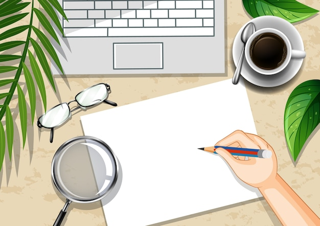 Top view office work desk with office elements with green leaves Free Vector