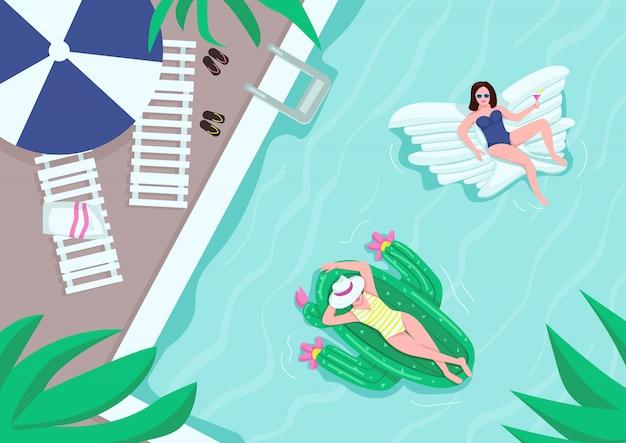 プールパーティーフラットカラーイラストの平面図です。タオル付きのラウンジチェア。水の近くの傘。背景にプールサイドでエアマットレス2dの漫画のキャラクターで休んでいる女性 Premiumベクター