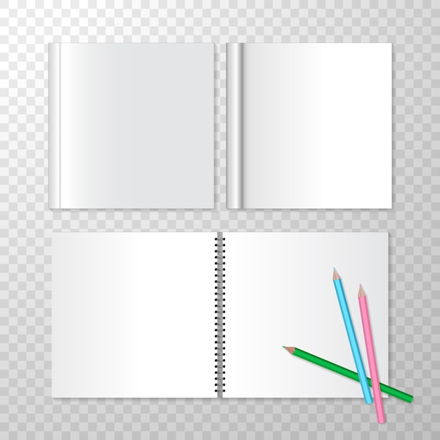 Top view opened notebooks on spiral bound and square closed book Free Vector