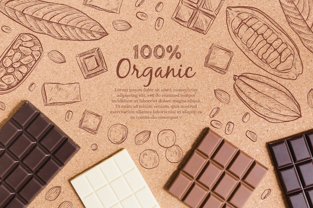 Вид сверху органических шоколадных батончиков Бесплатные векторы