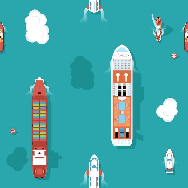 Вид сверху на морские корабли Бесплатные векторы