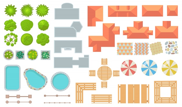 Top view of park and city elements flat icon set Free Vector