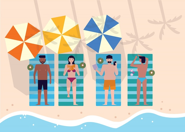 Top view of people at beach or seashore relaxing and sunbathing. Premium Vector