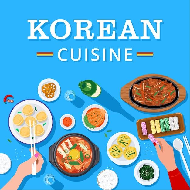 Top view of people enjoying korean food together Premium Vector