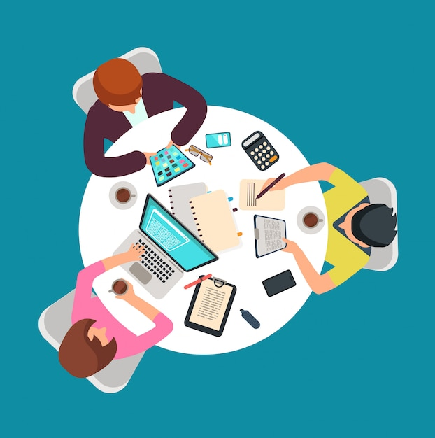 Top view people group work at table Premium Vector