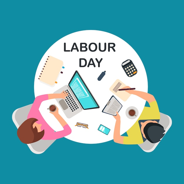 Top view people work at table. labour day Premium Vector