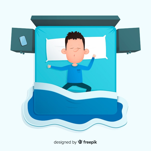Top view person sleeping in bed Free Vector
