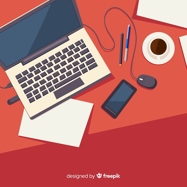 Top view of professional office desk Free Vector