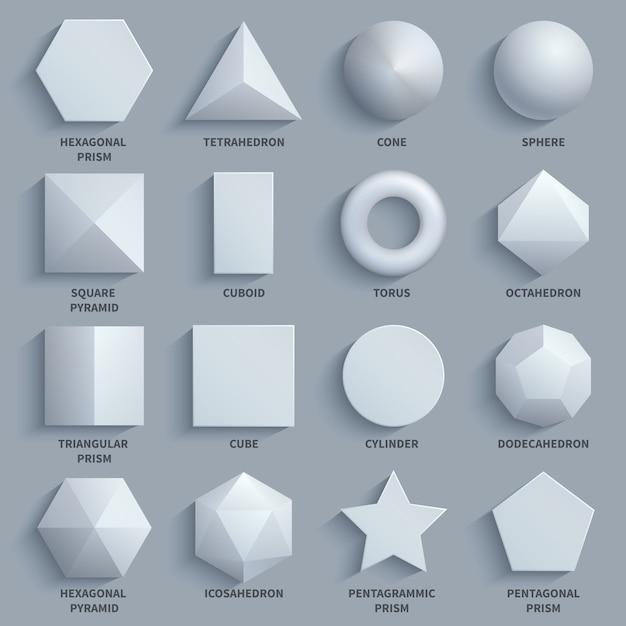 Top view realistic white math basic 3d shapes vector set. Premium Vector