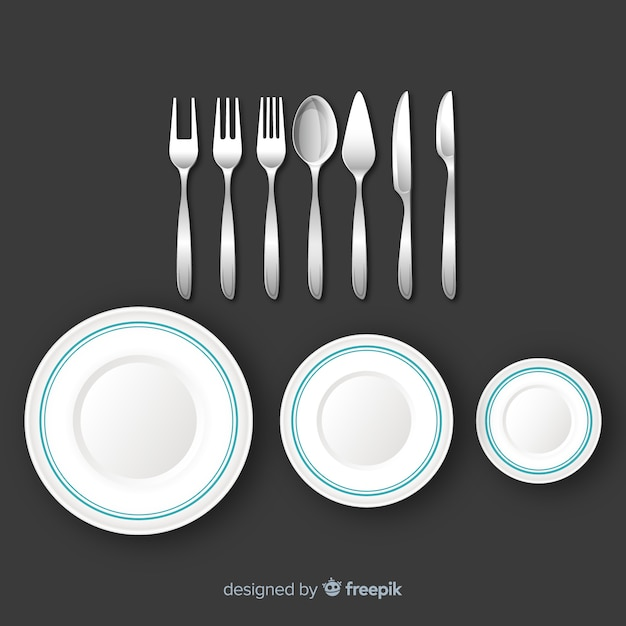 Top view of restaurant cutlery with realistic design Free Vector