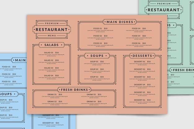 Шаблон меню ресторана сверху Premium векторы