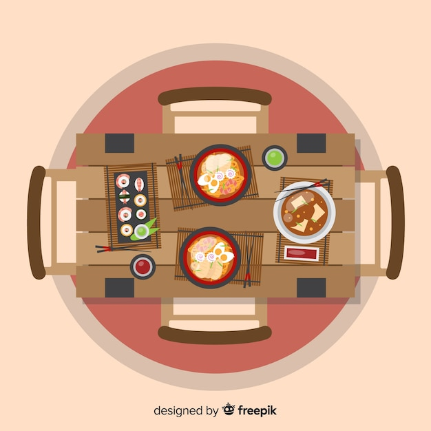 Top view of restaurant table with flat design Free Vector