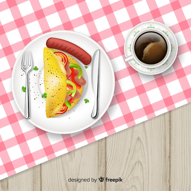 Top view of restaurant table with realistic design Free Vector