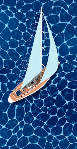 Вид сверху парусная лодка на синей морской воде Premium векторы