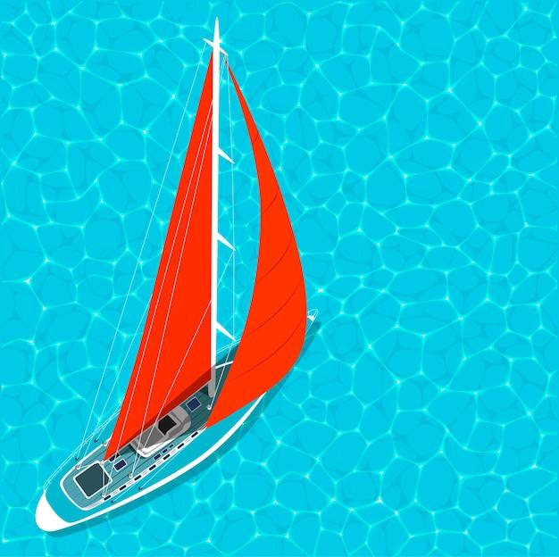 Вид сверху парусная лодка на воде летом Premium векторы