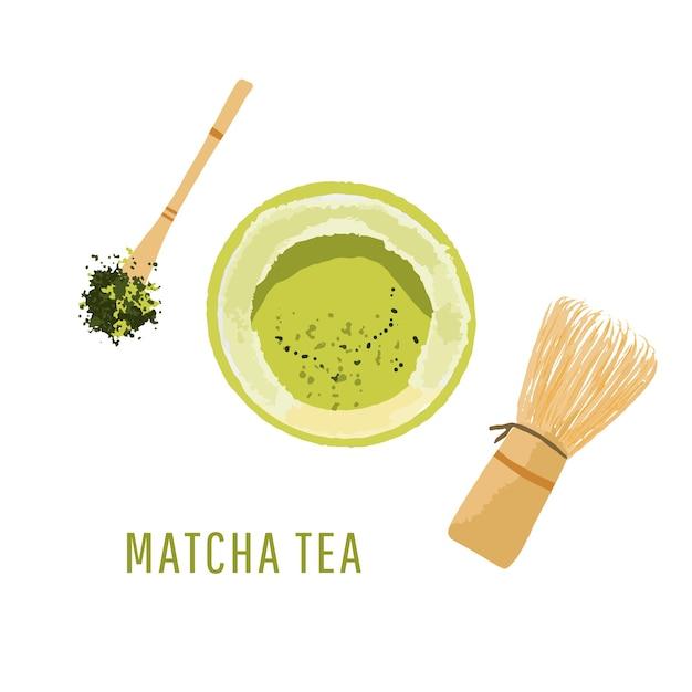 Набор из миски для порошка матча, деревянной ложки и венчика, лист зеленого чая, вид сверху, изолированные на белом фоне иллюстрации Premium векторы