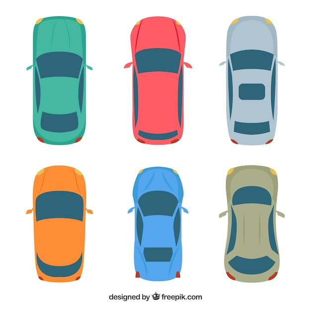 Top view of six cars Premium Vector