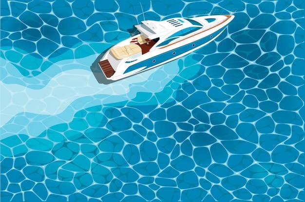 Скоростной катер вид сверху на воде. роскошная яхтенная гонка, плакат морской регаты. Premium векторы