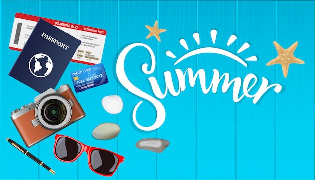 Top view summer, plan for the trip with copyspace on wooden, camera, tickets, passport, credit card, vector illustration. Premium Vector