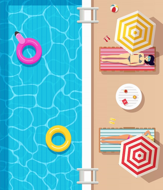 Вид сверху, бассейн с чистой водой, надувные круги и девушки в купальниках, лежа на шезлонгах и загорающие. летнее время плакат. Premium векторы