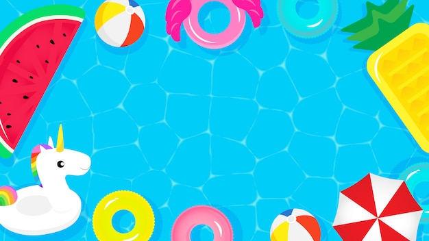 Top view of swimming pool with cute pool floats Premium Vector