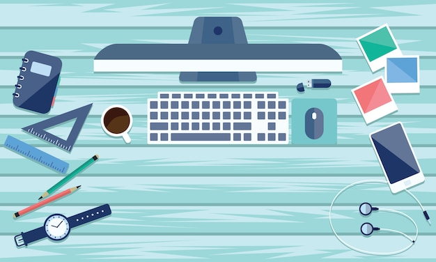 Top view of table working and working desk with gadget and free space for text. Premium Vector