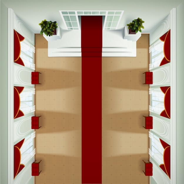 Top view of theater club or hotel foyer interior with red carpet banquette Free Vector