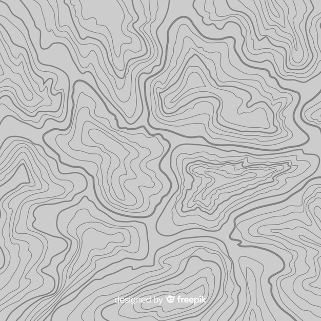 Top view topographic grey lines background Free Vector