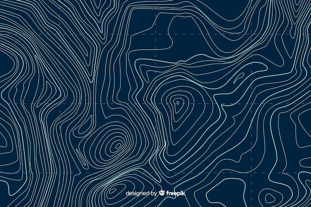 Top view topographic lines background Free Vector