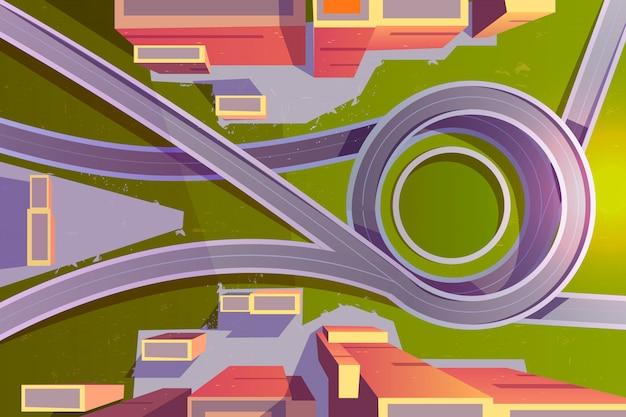 Вид сверху транспортной развязки в городе Бесплатные векторы