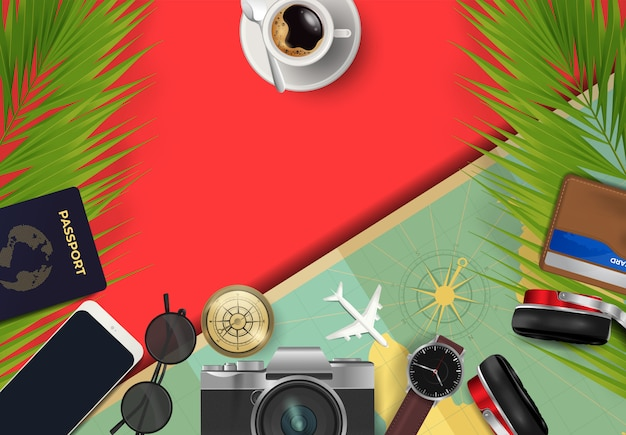 Top view on travel and tourism concept background Premium Vector