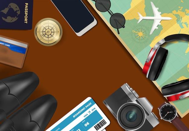 Top view on travel and vacations background Premium Vector